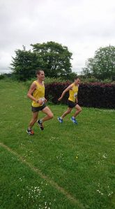 Steve Way and Jon Sharkey, joint winners of the Puddletown Plod, approach the finish line