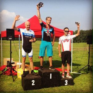Ross Smith on the podium at the Southern XC Regional Championship mountain bike race in the New Forest