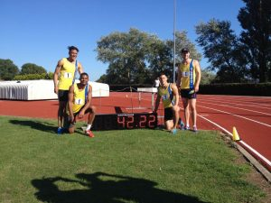 BAC's record breaking 4x100 relay team at Yeovil - Kevin Hodgson, Patrick Sylla, James Lelliott, Adam Carpenter