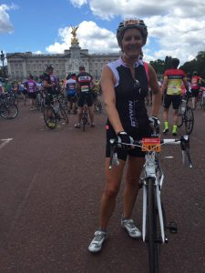 Caroline Rowley about to get under way at the RideLondon - Surrey event