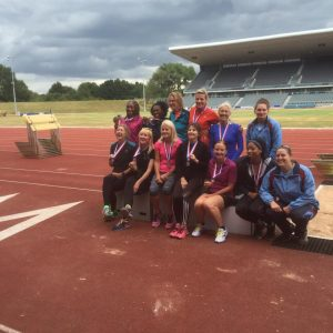 The Heptathlon squad at the BMAF Championships at Birmingham (Janet Dickinson back row 2nd from right)
