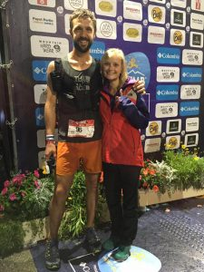 Jez Bragg, with Gemma, after completing the 170k UTMB