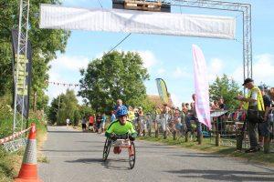 Hannah Moore, winner of the Wheelchair Race