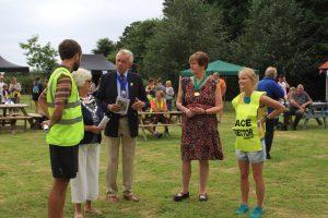 Race Directors Jez and Gemma Bragg meet the Mayor of Wimborne, Cllr Sue Cook (second left)