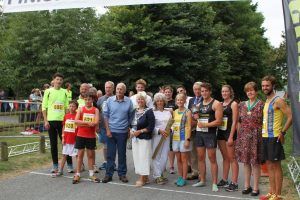 The contestants in the Village Race with Chris Bennett and the Mayor of Wimborne, Cllr Sue Cook