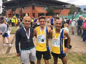 Simon Way, Chris O'Brien and Sanjai Sharma after their successes at the Maidenhead Half Marathon