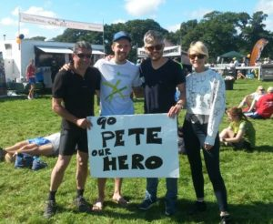 Peter Thompson (second left) with his fan club after the New Forest Marathon
