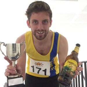 Toby Chapman's awards after winning the Sourton Tors Fell Race