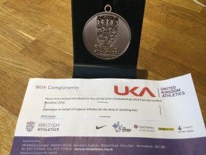 England Athletics Marathon Championship (London Marathon) Bronze Medal won for BAC by Steve Way, Jacek Cieluszecki and Toby Chapman