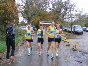 BAC's winning ladies warm up before the Wimborne 10 - Yvonne Tibble, Nikki Sandell (trying to keep her hands warm!), Emma Dews and Caroline Rowley