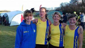 BAC's Ladies' (and Veteran Ladies') team at Hants XC, Popham - Nikki Sandell, Joy Wright, Caroline Rowley and Louise Price