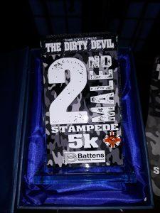 2nd place trophy - Dirty Devil Stampede 5k