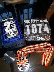 2nd place trophy and finisher's medal - Dirty Devil Stampede 5k
