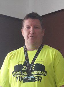 Julian Oxborough in his Yeovil Half Marathon t-shirt