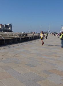 Toby speeds down the Weston-super-Mare promenade