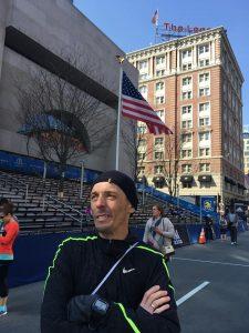 Jacek Cieluszecki gets ready for the Boston Marathon