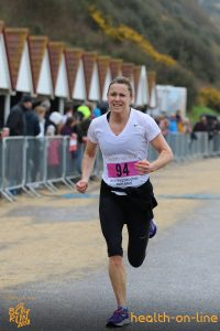 Jo Dilling nears the finish in the Bournemouth Bay 10k