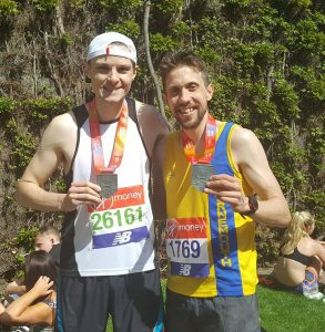Pete Thompson and his friend Tom after the London Marathon