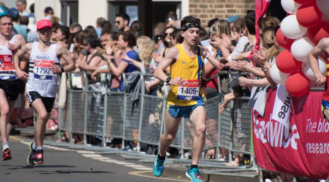 Rob McTaggart races along in London Marathon