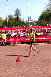 Steve Way indulges in a bit of showboating at the London Marathon