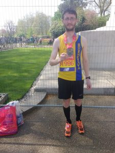 Tom Paskins after completing the London Marathon