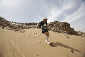 Mark Hillier on the sandy slopes of the Marathon des Sables