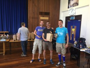 Steve, Ant and Stu pick up their men's team prize