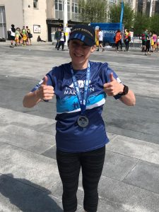 Thumbs up for Sam Laws after completing the ABP Southampton Marathon