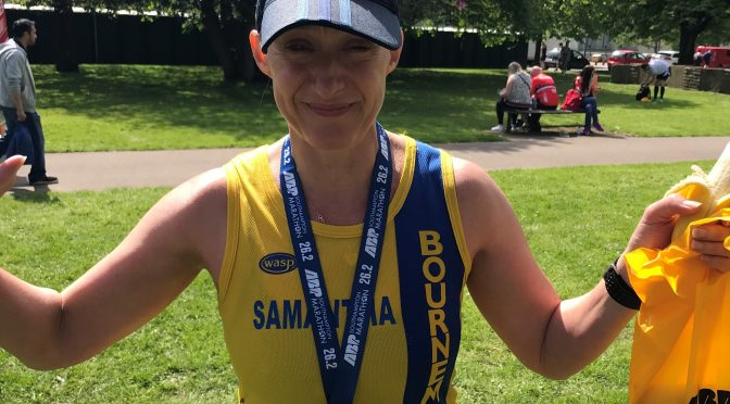Sam Laws completed her first marathon at the ABP Southampton