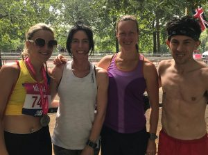 Harriet Slade, Mandy Adams, Joy Wright and Rob McTaggart after Vitality 10,000