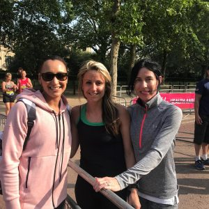 Harriet Slade and Mandy Adams with Jessica Ennis-Hill at the Vitality 10,000