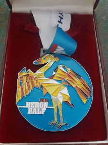 The Heron Half Marathon medal for 2018