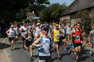 Simon Hunt gets his race underway at the Lulworth Castle 10k