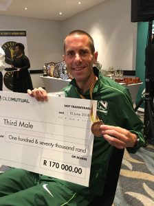 Steve Way with cheque and bronze medal - Comrades Marathon