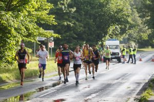 The lead pack in the Dorchester Marathon
