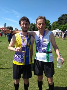 Tom Paskins and Howard after Poole Half Marathon