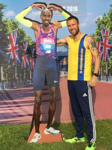 Trevor Elkins with cardboard Mo Farah at Vitality 10,000