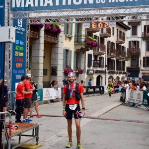 Toby Chapman crosses the line in the Mont Blanc 90k
