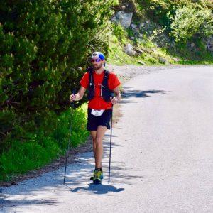 Toby Chapman using his trekking poles