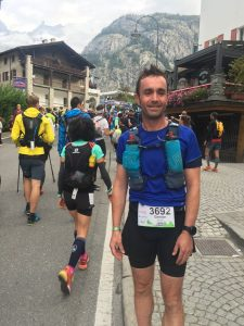 Damian Boyle at the start of the CCC Mont-Blanc