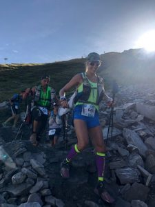 Linn Erixon Sahlström manoeuvres over the rocks in the TDS Mont-Blanc