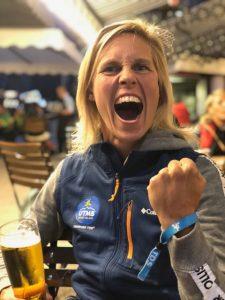 Linn celebrates completing the 121km TDS race at UTMB