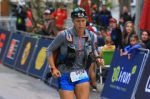 Linn Erixon Sahlström competing in the TDS race at the Ultra-Trail du Mont-Blanc