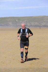 Andy Gillespie on Perranporth Beach on Day 1
