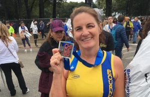 Caroline Rowley with her medal after the Chicago Marathon