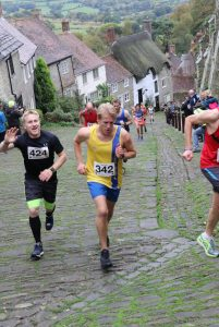 Phil Cherrett reaches top of Gold Hill