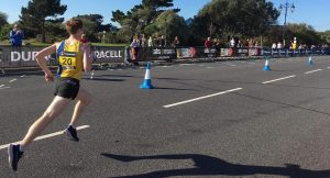 Dave Long racing past in the Great South Run