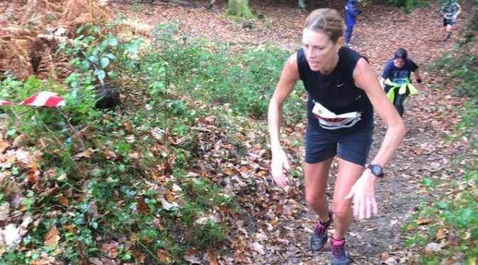 Emma Caplan on the ascent in the New Forest Stinger