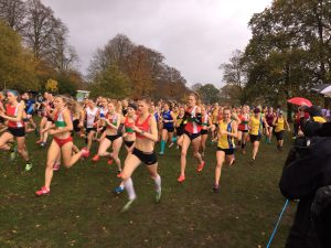 Holly Collier and Nikki Sandell in the Hampshire League Cross Country race at Aldershot