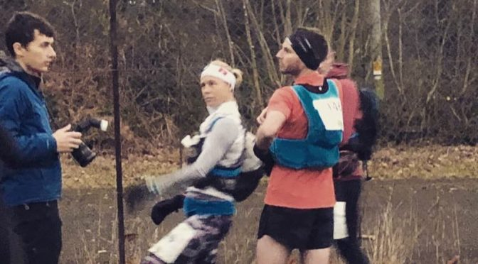 Linn Erixon Sahlström reaches the finish of the Beacons Ultra